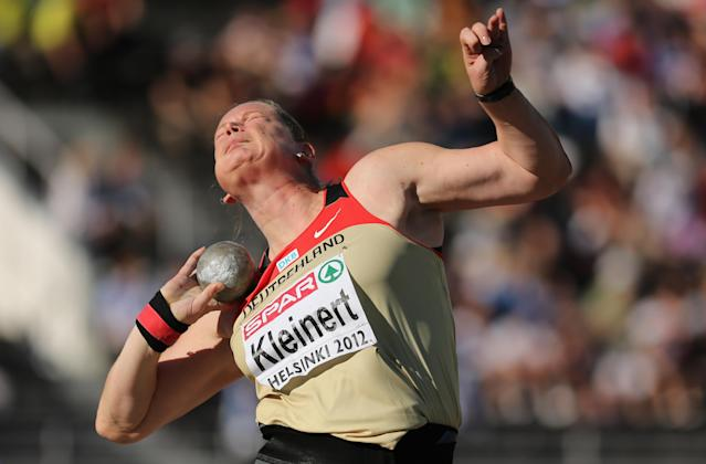 HELSINKI, FINLAND - JUNE 29: Nadine Kleinert of Germany competes on her way to victory in the Women's Shot Put Final during day three of the 21st European Athletics Championships at the Olympic Stadium on June 29, 2012 in Helsinki, Finland. (Photo by Ian Walton/Getty Images)