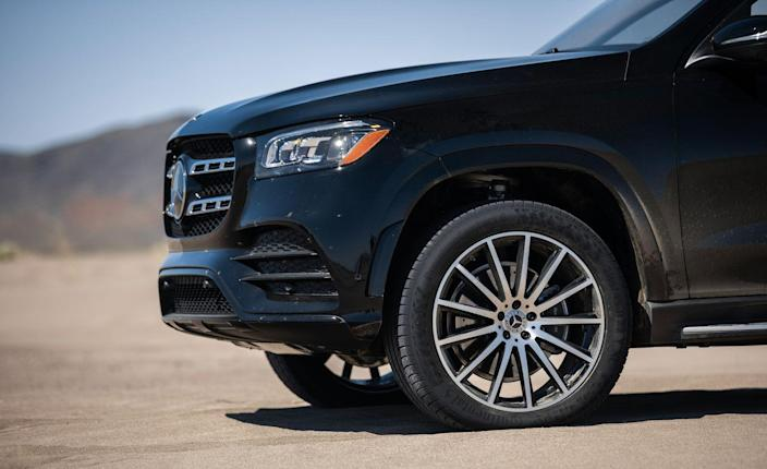 <p>With its seriously large 21- and 22-inch tires (the 22s have a section width of 325 mm in the rear, and the available 23s are 340 mm wide) aired down to 17 psi, the GLS did indeed conquer Big Dune one drifty curlicue at a time, although there's nothing like sand to make it feel as though the GLS580 could use double the power of its 483-hp V-8.</p>