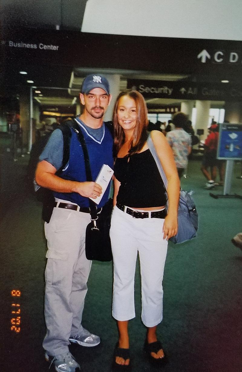 Megan Frey, then 18, with Wes Feltner in the airport on the way to Las Vegas on Aug. 17, 2002.