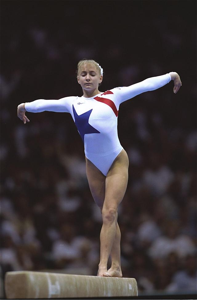 29 Jul 1996: Shannon Miller of the USA in action on the balance beam on her way to a gold medal at the Georgia Dome at the 1996 Centennial Olympic Games in Atlanta, Georgia. Mandatory Credit: Doug Pensinger /Allsport