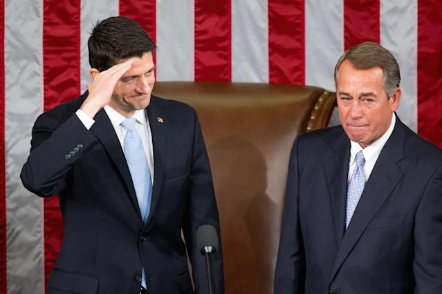 House Speaker John Boehner, right, stands with his successor Rep. Paul Ryan in October 2015. (Photo: Andrew Harnik/AP)