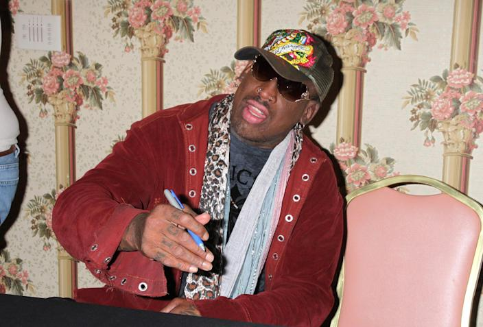 """<p>Not only is former NBA star Dennis Rodman mates with North Korean leader Kim Jong-Un, he's a Trump super fan, previously <a rel=""""nofollow noopener"""" href=""""https://twitter.com/dennisrodman/status/624651124545581056"""" target=""""_blank"""" data-ylk=""""slk:tweeting"""" class=""""link rapid-noclick-resp"""">tweeting </a>about his 'great friend': 'We don't need another politician, we need a businessman like Mr. Trump! Trump 2016.' (PA) </p>"""
