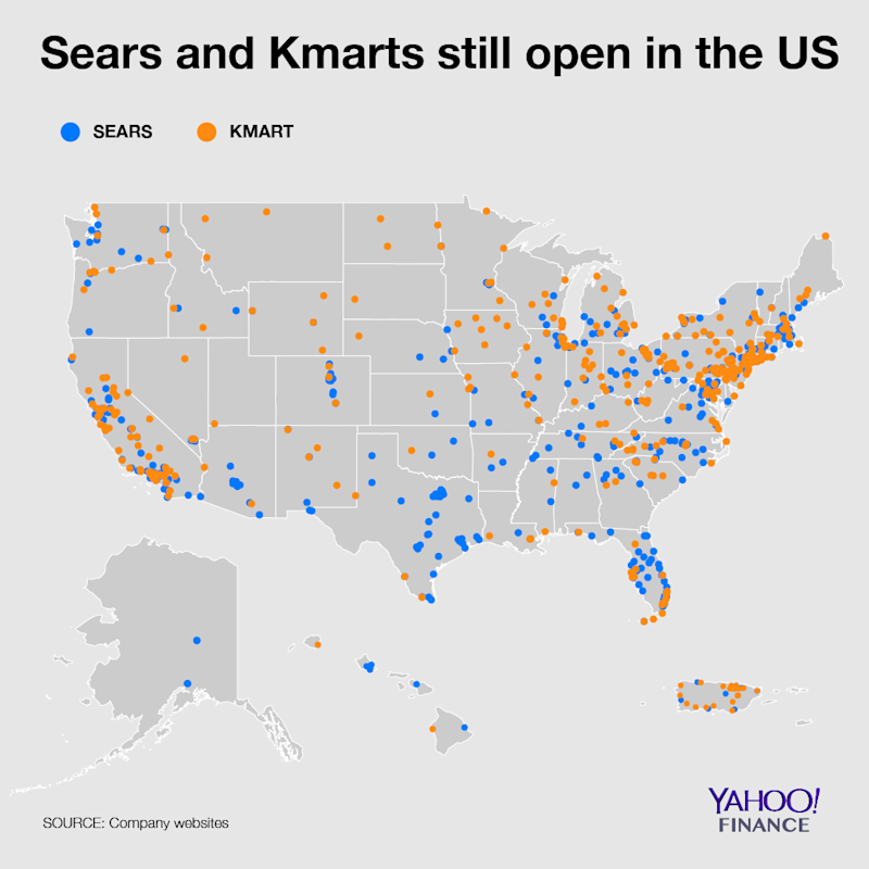 Map: Sears and Kmarts left in America