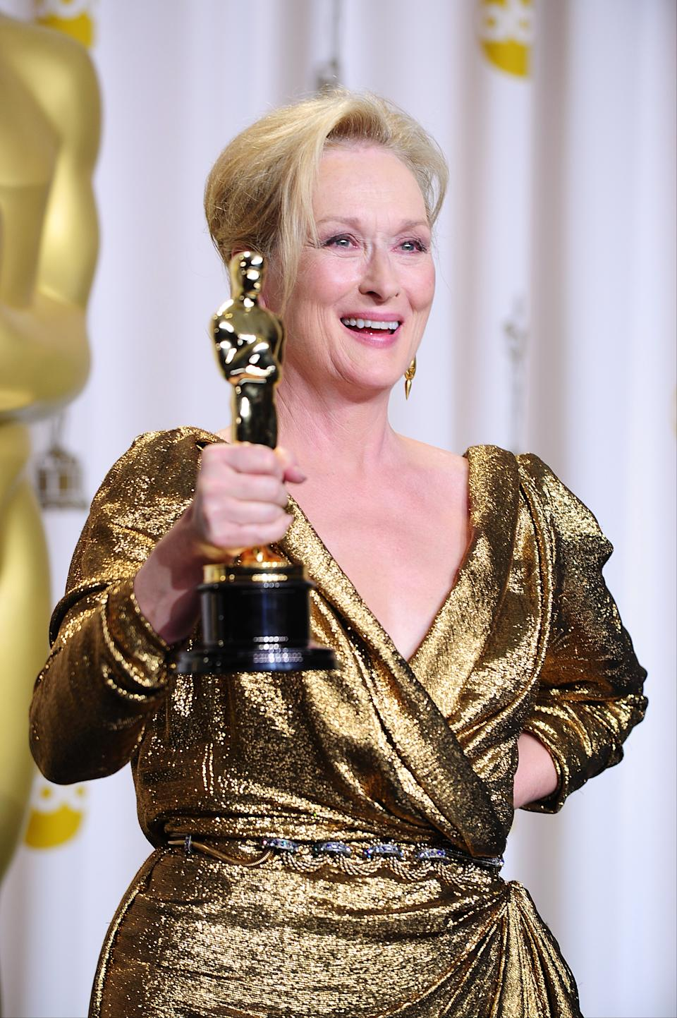 Meryl Streep with the Best Actress award, received for The Iron Lady, at the 84th Academy Awards at the Kodak Theatre, Los Angeles. (Photo by Ian West/PA Images via Getty Images)