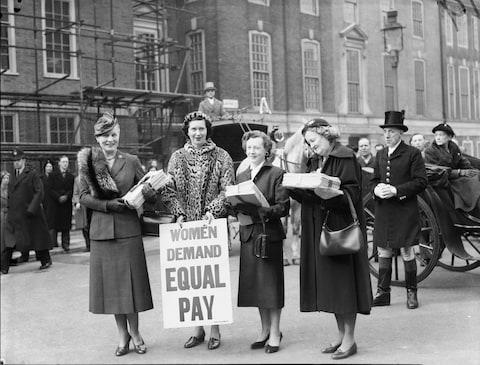 Female MPs present a petition from the Equal Pay Campaign Committee - Credit: Getty