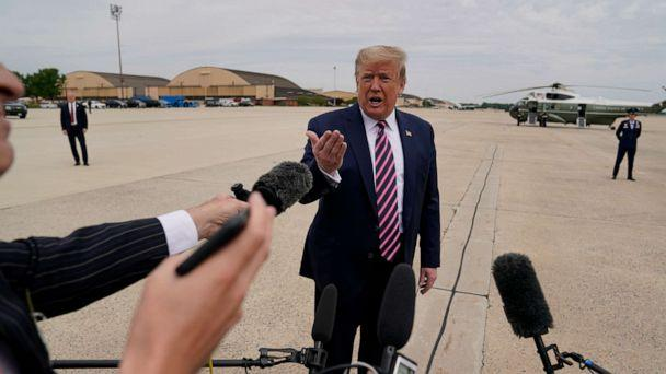 PHOTO: President Donald Trump talks to the media before boarding Air Force One for a trip to Phoenix to visit a Honeywell plant that manufactures protective equipment, May 5, 2020, in Andrews Air Force Base, Md. (Evan Vucci/AP)