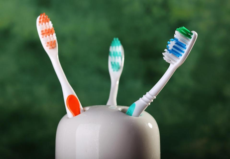Toothbrushes in a ceramic holder