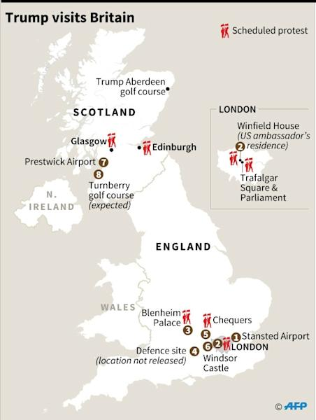 Map of Britain detailing Donald Trump's visit