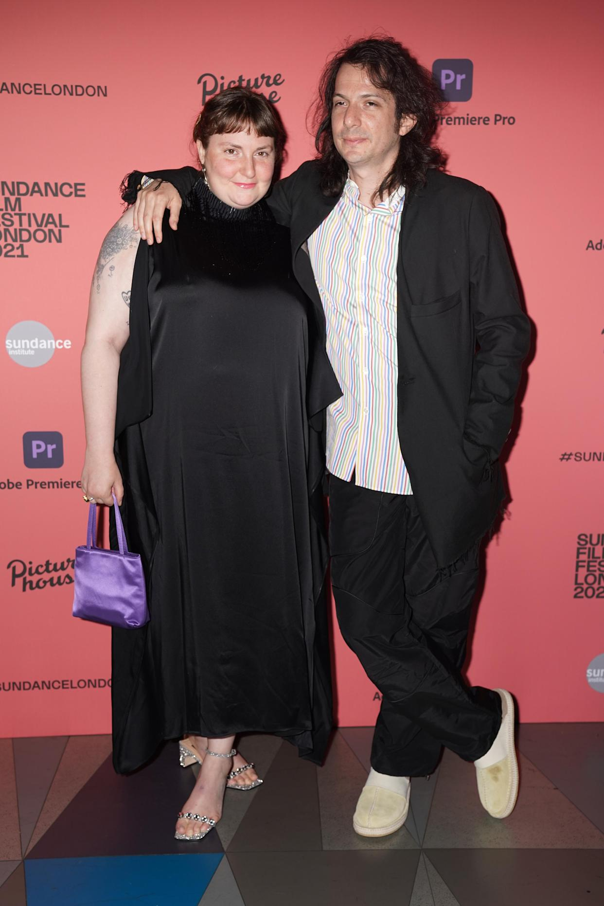 Lena Dunham and Luis Felber attend the Sundance London Film Festival screening of Zola, at the Picturehouse Central Cinema, in Piccadilly, London. Picture date: Sunday August 1, 2021. (Photo by Kirsty O'Connor/PA Images via Getty Images)