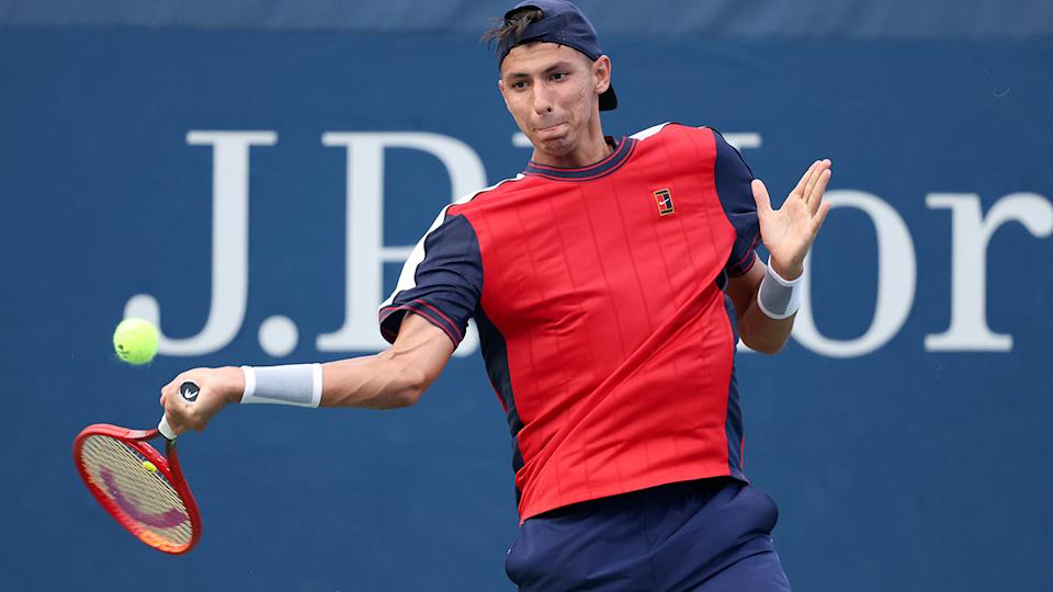 Alexei Popyrin has moved on to the second round of the US Open. (Photo by Matthew Stockman/Getty Images)