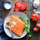 <p>This recipe is so beautiful and yet so simple to prepare--it's perfect for entertaining. You just spread a side of salmon with minced garlic, sprinkle with fresh basil, then layer sliced tomatoes on top. Put it on the grill for 10 minutes and you're done!</p>