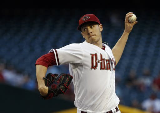 Arizona Diamondbacks' Patrick Corbin throws against the Philadelphia Phillies during the first inning of a baseball game on Thursday, May 9, 2013, in Phoenix. (AP Photo/Ross D. Franklin)