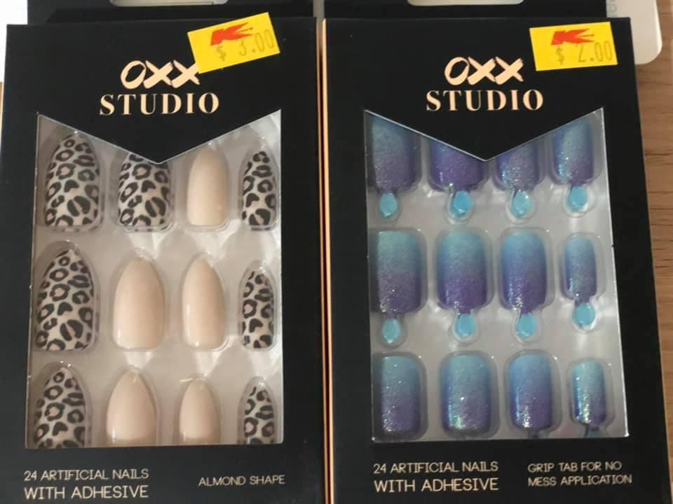 Kmart's $4 OXX fake nails in leopard print and beige and blue ombre