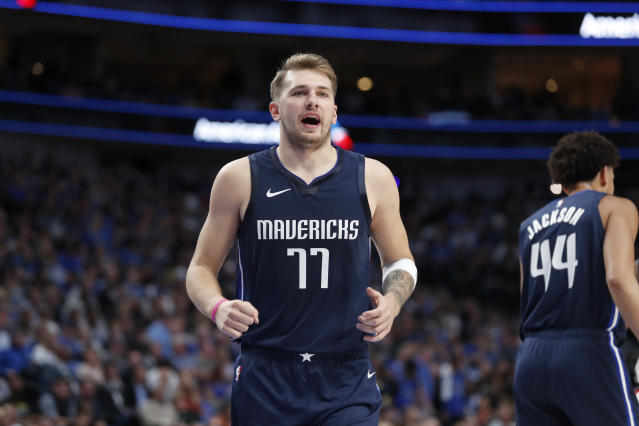 Dallas Mavericks' Luka Doncic is seen during the second quarter of an NBA basketball game against the Washington Wizards in Dallas, Wednesday, Oct. 23, 2019. (AP Photo/Tony Gutierrez)