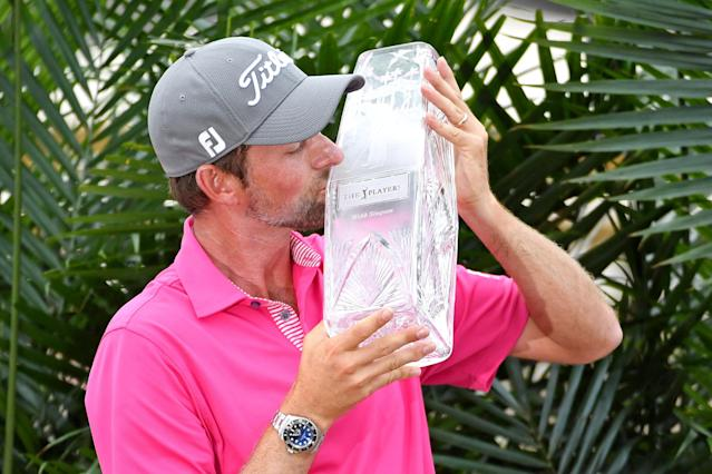 May 13, 2018; Ponte Vedra Beach, FL, USA; Webb Simpson celebrates winning The Players Championship golf tournament at TPC Sawgrass - Stadium Course. Mandatory Credit: John David Mercer-USA TODAY Sports TPX IMAGES OF THE DAY