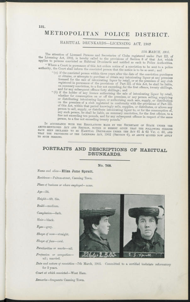 <p>Habitual Drunkards were forbidden from purchasing or drinking from pubs and licensed bars. Eliza Spratt, was convicted in 1905 and is said to frequent Canning Town (findmypast)</p>