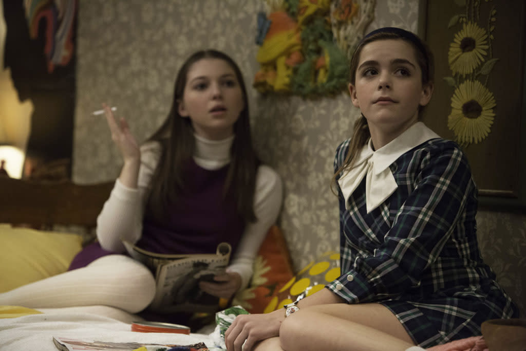 Millicent (Sammi Hanratty) and Sally Draper (Kiernan Shipka) - Mad Men _ Season 6, Episode 12 _ 'The Quality of Mercy' - Photo Credit: Jordin Althaus/AMC