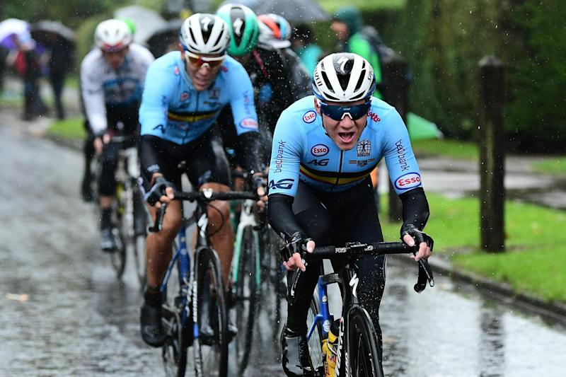 Remco Evenepoel works hard for Belgian national teammate Philippe Gilbert at the 2019 UCI Road World Championships in Yorkshire