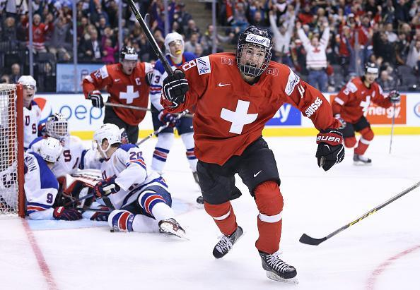 Nico Hischier of Team Switzerland celebrates one of his 2 goals against Team USA during a QuarterFinal game at the 2017 IIHF World Junior Hockey Championships at Air Canada Centre on January 2, 2017 in Toronto, Ontario, Canada. Team USA defeated Team Switzerland 3-2. (Getty Images)