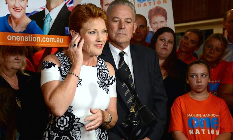 Pauline Hanson addresses One Nation election function in Perth on Saturday night.