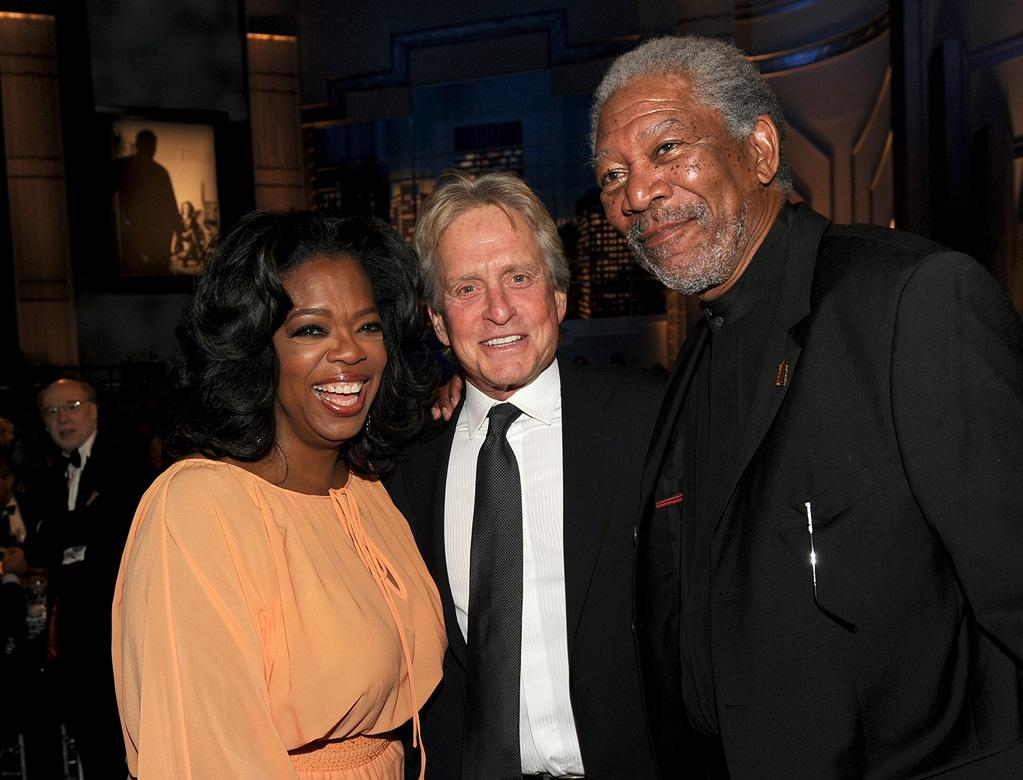 """<a href=""""http://movies.yahoo.com/movie/contributor/1800020554"""">Oprah Winfrey</a>, <a href=""""http://movies.yahoo.com/movie/contributor/1800012782"""">Michael Douglas</a> and <a href=""""http://movies.yahoo.com/movie/contributor/1800020214"""">Morgan Freeman</a> attend the 38th AFI Life Achievement Award honoring Mike Nichols held at Sony Pictures Studios on June 10, 2010 in Culver City, California."""
