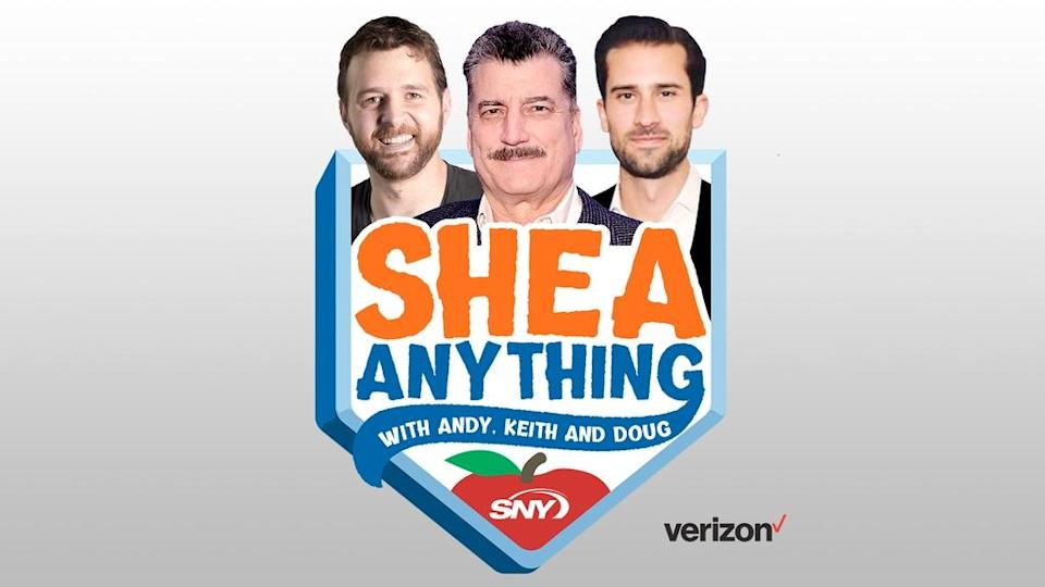 Shea Anything Podcast Show Logo 16x9 with Verizon sponsor logo