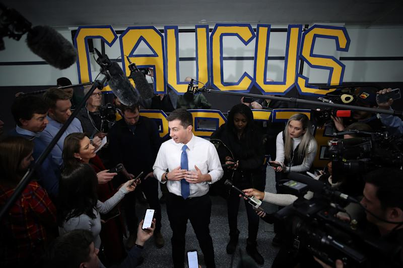 Democratic presidential candidate former South Bend, Indiana Mayor Pete Buttigieg answers questions from members of the media following a town hall event at the Boone County Fairgrounds Community Building January 27, 2020 in Boone, Iowa. (Photo: Win McNamee/Getty Images)