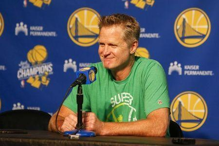 FILE PHOTO: Oct 5, 2018; Seattle, WA, USA; Golden State Warriors head coach Steve Kerr answers questions at a press conference while wearing a Seattle Supersonics t-shirt before a game against the Sacramento Kings at KeyArena. Mandatory Credit: Joe Nicholson-USA TODAY Sports