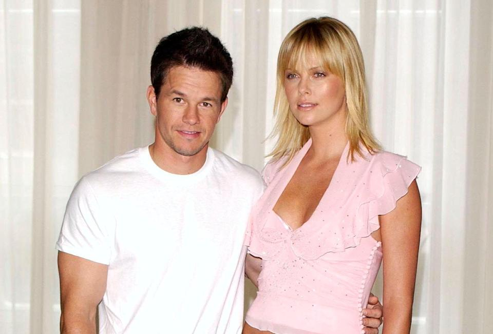 """Mark Wahlberg and Charlize Theron promoting """"The Italian Job."""""""