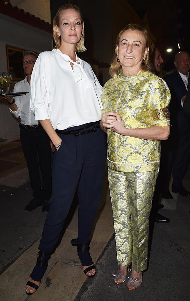 <p>Uma, whose love of Prada has spanned decades, went for a casual-chic look at a private dinner hosted by head designer Miuccia Prada at Fred L'Ecailler restaurant on May 22. (Photo: Jacopo Raule/Getty Images for Prada) </p>