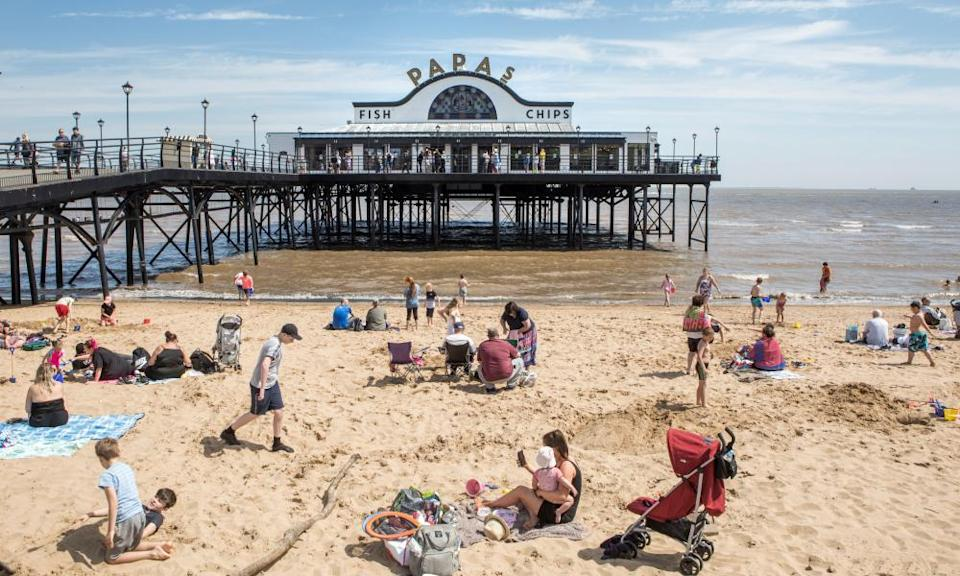On the beach at Cleethorpes, where fish and chips remains a main attraction.