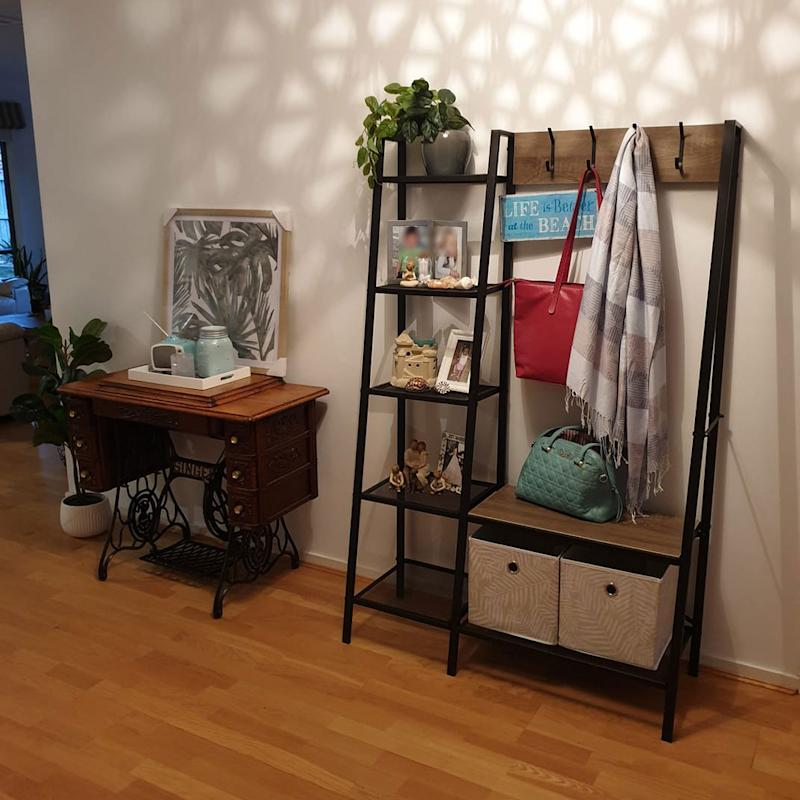 kmart entryway storage shelf unit at home