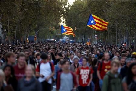 Protest after a verdict in a trial over a banned independence referendum in Barcelona