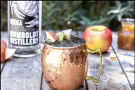 """<p><strong>Ingredients</strong></p><p>1.5 oz Humboldt Vodka<br>2 oz apple cider<br>1 oz fresh lime juice<br>.5 oz ginger syrup*<br>Splash of seltzer </p><p><strong>Instructions</strong></p><p>Build all ingredients over ice in a copper mug. Stir well, and garnish with lime or apple wedges. </p><p>*Ginger syrup: Combine 1 cup sugar, 1 cup water and a 2-inch knob of ginger, peeled and roughly chopped. Stir over low heat until sugar has dissolved. Remove from heat and allow the ginger to steep for at least one hour. Strain and refrigerate. </p><p><strong>More: </strong><a href=""""https://www.townandcountrymag.com/leisure/drinks/g28568631/apple-cider-cocktails/"""" rel=""""nofollow noopener"""" target=""""_blank"""" data-ylk=""""slk:Apple Cider Cocktails for Fall"""" class=""""link rapid-noclick-resp"""">Apple Cider Cocktails for Fall</a></p>"""