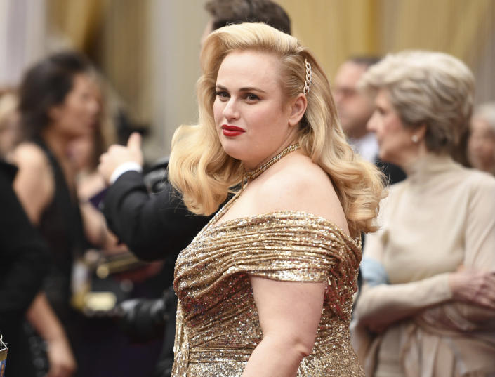 FILE - Rebel Wilson arrives at the Oscars on Feb. 9, 2020, in Los Angeles. Wilson turns 41 on March 2. (Photo by Richard Shotwell/Invision/AP, File)