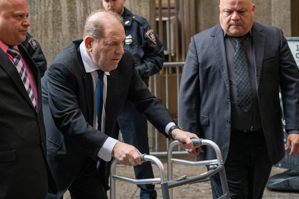 Movie producer Harvey Weinstein arrives at criminal court on December 11, 2019 in New York City. Weinstein returned to court for a ruling on whether he will remain free on bail or if his bail will be raised to $5 million before his trial starts January 6 . (Photo by David Dee Delgado/Getty Images)