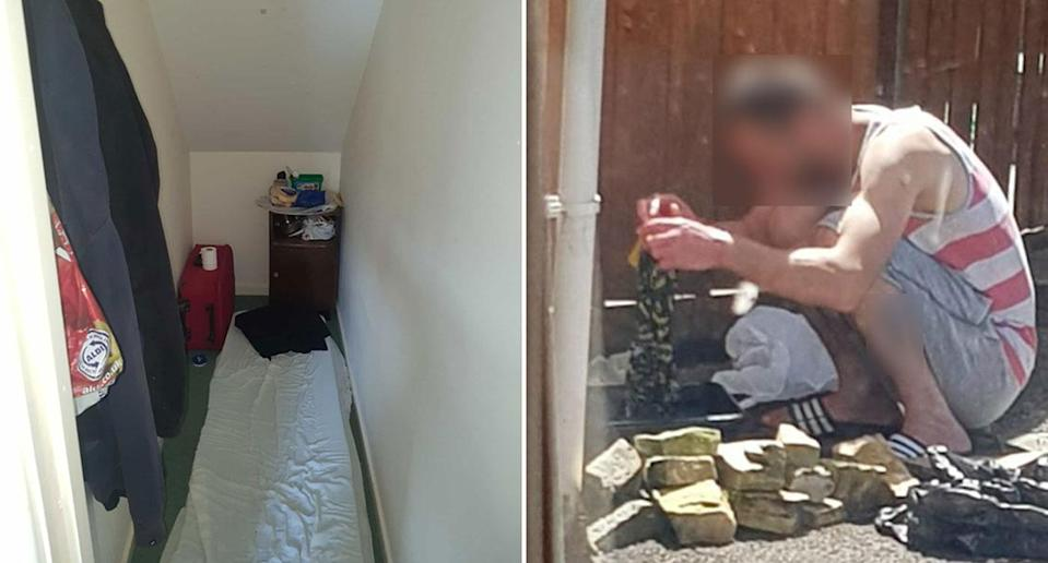 The room where Gabriel Nicolae, 31, slept and Mr Nicolae washing his clothes. Source: Avon and Somerset Police