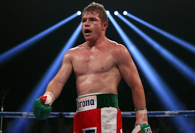 LAS VEGAS, NV - SEPTEMBER 15: Canelo Alvarez reacts after knocking out Josesito Lopez during their WBC super welterweight title fight at MGM Grand Garden Arena on September 15, 2012 in Las Vegas, Nevada. (Photo by Josh Hedges/Getty Images)