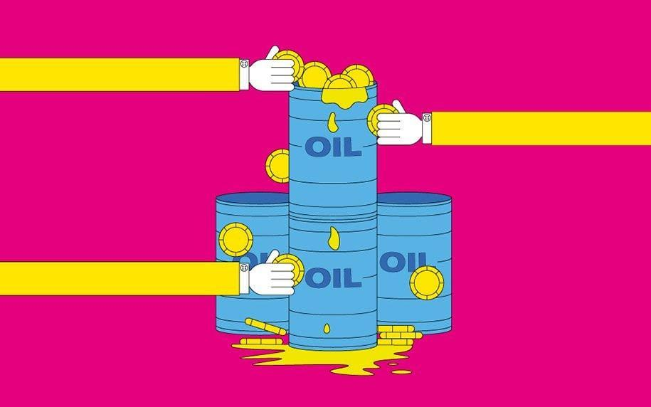 Oil barrels with hands and coins