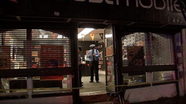 PHOTO: Police respond to a North Philadelphia cellphone store after a would-be thief got locked inside while attempting to rob it, Oct. 22, 2019. (WPVI)