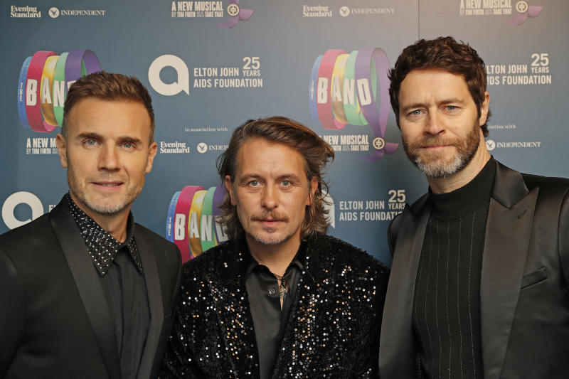 "LONDON, ENGLAND - DECEMBER 04: (L to R) Gary Barlow, Mark Owen and Howard Donald of Take That attend the Opening Night Gala of ""The Band"" to benefit the Elton John AIDS Foundation supported by The Evening Standard at Theatre Royal Haymarket on December 4, 2018 in London, England. (Photo by David M. Benett/Dave Benett/Getty Images)"