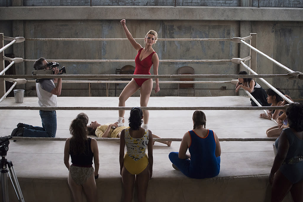 <p>Marc Maron as Sam Sylvia, Alison Brie as Ruth and Betty Gilpin as Debbie in Netflix's <i>GLOW</i>.<br /><br />(Photo Credit: Erica Parise/Netflix) </p>