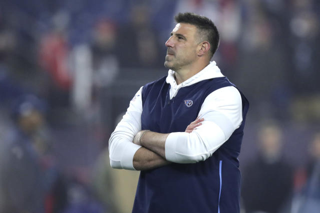 FILE - In this Jan. 4, 2020, file photo, Tennessee Titans head coach Mike Vrabel watches his team warm up before an NFL wild-card playoff football game against the New England Patriots, in Foxborough, Mass. Its taken first-time head coach Mike Vrabel two seasons, but the hands on former linebacker with three Super Bowl rings himself has them a win away from the franchises second Super Bowl berth. (AP Photo/Charles Krupa, File)