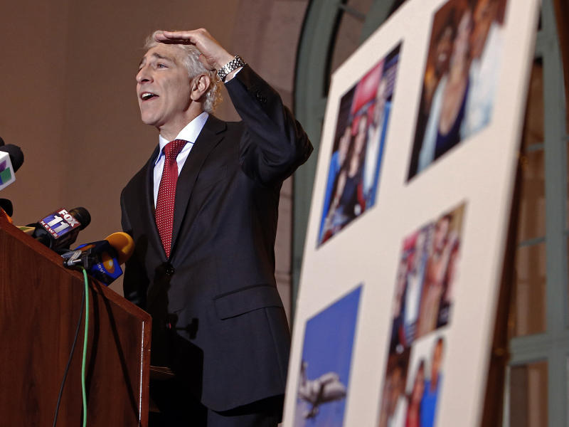 Attorney Paul Kiesel announces a lawsuit on behalf of four associates of Mexican singer Jenni Rivera, who perished along with her in a plane crash in Mexico in December, at a news conference in Los Angeles Thursday, Jan. 10, 2013. (AP Photo/Reed Saxon)