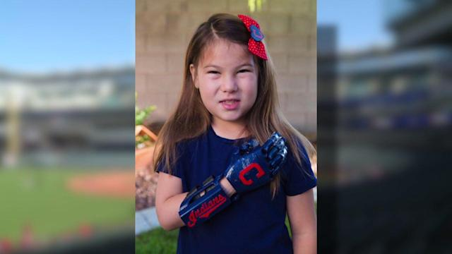 An 8-year-old girl on a mission to throw out the first pitch at 30 Major League Baseball game will be at the Cleveland Indians game Saturday.