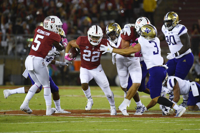 Stanford running back Cameron Scarlett rushed for 151 yards in a win over Washington. (Photo by Brian Rothmuller/Icon Sportswire via Getty Images)