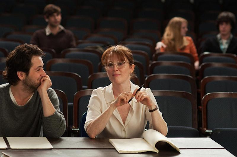 """This undated publicity photo released by courtesy of Cinedigm shows Michael Angarano, left, as Jason Sherwood and Julianne Moore as Linda Sinclare in the film, """"The English Teacher,"""" directed by Craig Zisk. (AP Photo/Cinedigm, Nicole Rivelli)"""