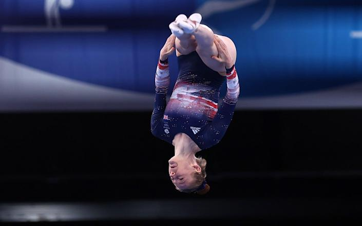 Bryony Page in the middle of her bronze medal-winning routine - REUTERS
