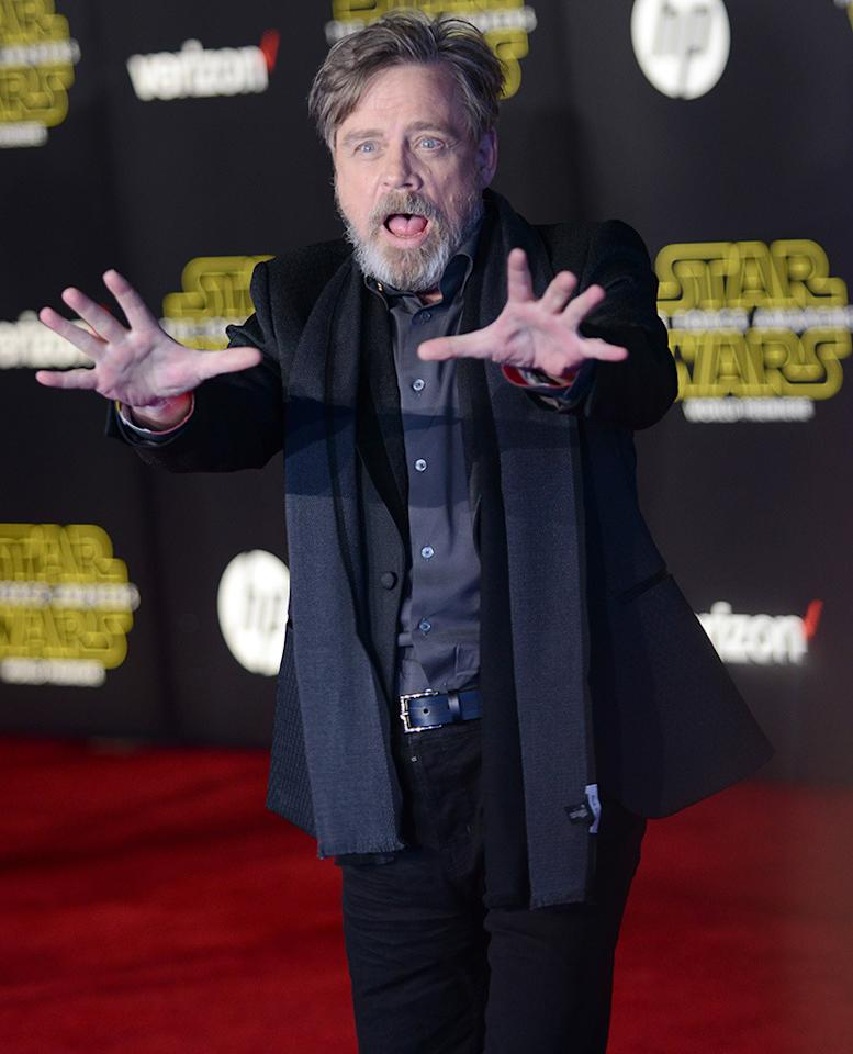 <p>Hamill, who reprises his role as Luke Skywalker<i>, </i>zaps the paparazzi with Force lightning. (Getty Images)</p>