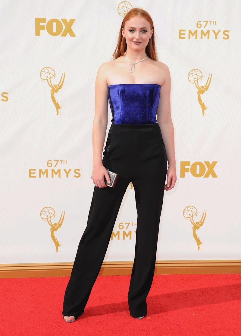 Pants are always a welcome sight on the red carpet. Sophie Turner, in Galvan, arrives at the 67th Annual Primetime Emmy Awards at Microsoft Theater on September 20, 2015 in Los Angeles, California.